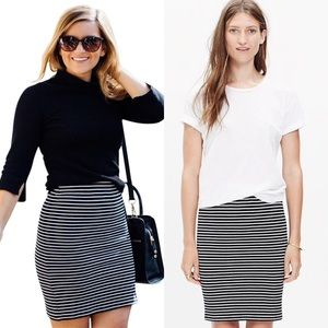 Madewell City Skirt in Black and White Stripes Med